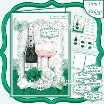 CHAMPAGNE CELEBRATIONS EMERALD A5 Decoupage & Insert