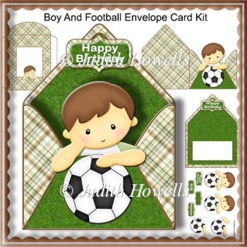 Boy And Football Envelope Card Kit