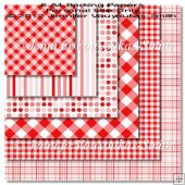 6 A4 Backing Papers-Red Plaids, Dots & Stripes