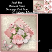 Peach Posy Diamond Frame Decoupage Card Front