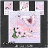 Vintage Pastel Shabby Butterfly Flower 1408