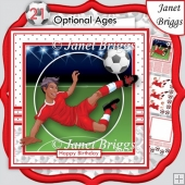 FOOTBALL STRIKER Ethnic 7.5 Red Soccer Decoupage Ages & Insert
