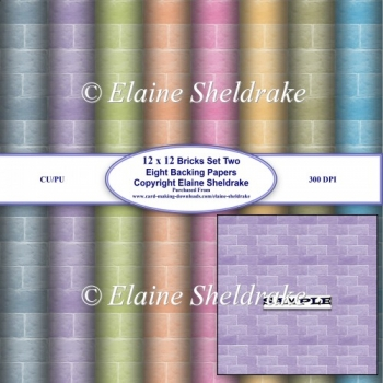 Brick Wall Set Two Eight Assorted Bright Sheets Of 12 x 12 BP
