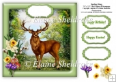 Spring Stag - 7.5 x 7.5 Card Topper To Fit 8 x 8 Cards Comforta