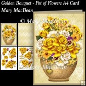 Golden Bouquet - Pot of Flowers A4 Card