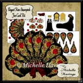 Elegant Rose Steampunk Fan Card Kit