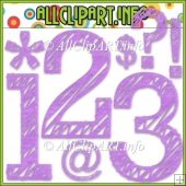 Scribble Numbers & Symbols (Purple) Commercial Use