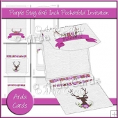 Purple Stag 6x6 Inch Pocket Fold Invitation