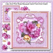Lilac And Pink Rose Bouquet Card Front And Insert