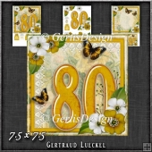 Vintage 80th Birthday Topper Card Kit 1191