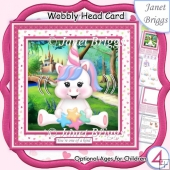 UNICORN WOBBLY HEAD CARD 7.5 Decoupage & Insert Kit