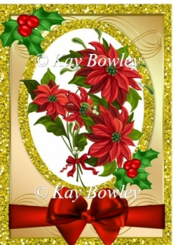 Pretty red poinsettias with red bow in glitter frame A4