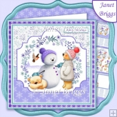 SNOWMAN AND BEARS 7.5 Christmas Decoupage & Insert Mini Kit