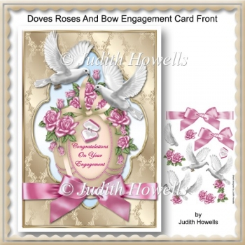 Doves Roses And Bow Engagement Card Front