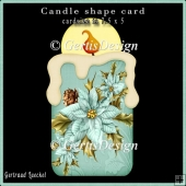 Candle Shape Card Christmas Poinsettia turquoise 691