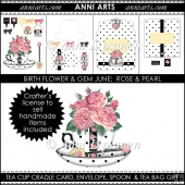 Birth Flowers and Gems June: BW Tea Cup Cradle Card Set