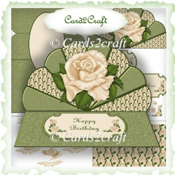 Fan and rose easel card