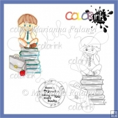 Peter sitting on books and sentiment digi stamp