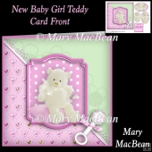 New Baby Girl Teddy Card Front