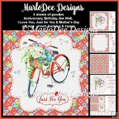 Red Bicycle with Basket of Flowers - Mixed Sentiment Card Kit