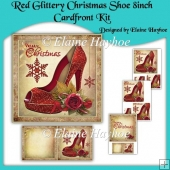 Red Glittery Christmas Shoe 8inch Cardfront Kit