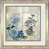 cornflowers 6.5x6.5 approx with decoupage