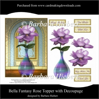 Bella Fantasy Rose Topper with Decoupage