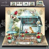 Beautiful Garden with Turquoise Swing Card