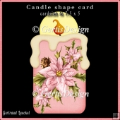 Candle Shape Card Christmas Poinsettia pink 692