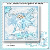 Blue Christmas Fairy Square Card Front