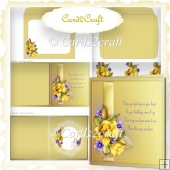 Yellow rose Birthday card set