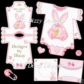 Girl Bunny Onesie Card