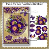 Purple And Gold Floral Spray Card Front