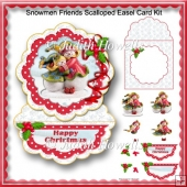 Snowmen Friends Scalloped Easel Card Kit