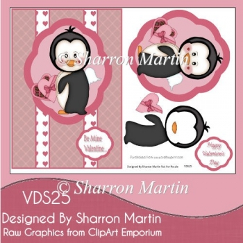 VDS25 A5 Angelic Penguin Valentines Card Front with Decouage