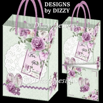 Floral Heart and Tag Gift Bags