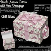 Gift Box Purple Autumn Pattern with Bow Decoupage