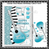 Guitar And Music Birthday Card Front