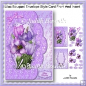 Lilac Bouquet Envelope Style Card Front And Insert