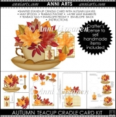Autumn Teacup Cradle Card: Falling leaves