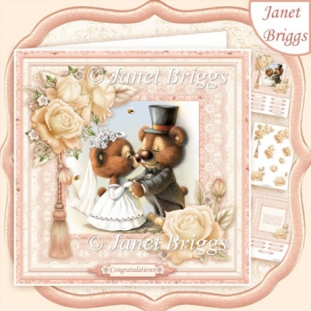 CUTE WEDDING BEARS 8x8 Decoupage Insert & Verse Kit