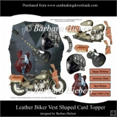 Leather Biker Vest Shaped Card Topper