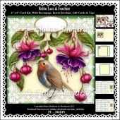 Robin Lace & Fuschia Flowers 6 x 6 Card Kit With Decoupage etc.
