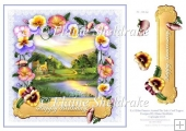"Pansy Cottage By The Lake - 8"" x 8"" Card Topper"