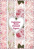 Valentine Roses Damask Background Papers Set of Four