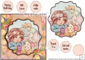 Cute kitten and her mom 6 inch card topper 118