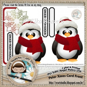 Polar Christmas Card Front - Freebie (Holidays)