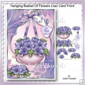 Hanging Basket Of Flowers Lilac Card Front