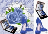 pretty blue roses with shoes, makeup on lace 8x8
