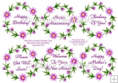 Pink Floral Daisy Greetings Tags For Cards & Scrapbook Pages